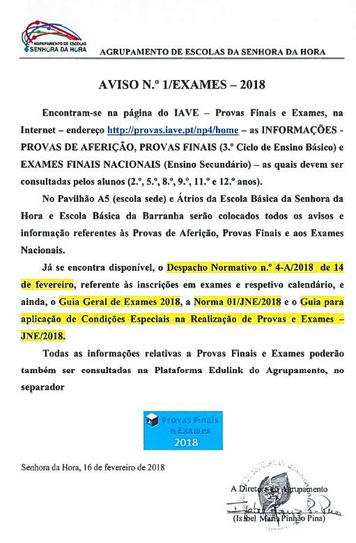AVISO N.º 1_EXAMES 2018