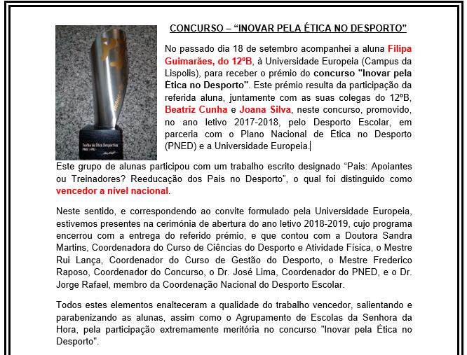 """Vencedoras concurso - """"Inovar pela ética no desporto"""""""