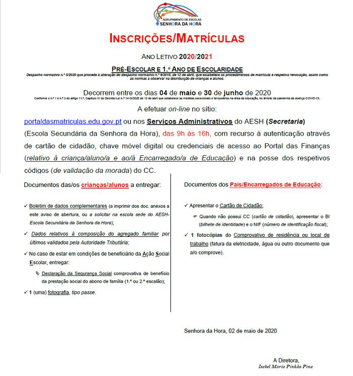 INSCRIÇÕES/MATRÍCULAS PRÉ-ESCOLAR E 1.º ANO DE ESCOLARIDADE