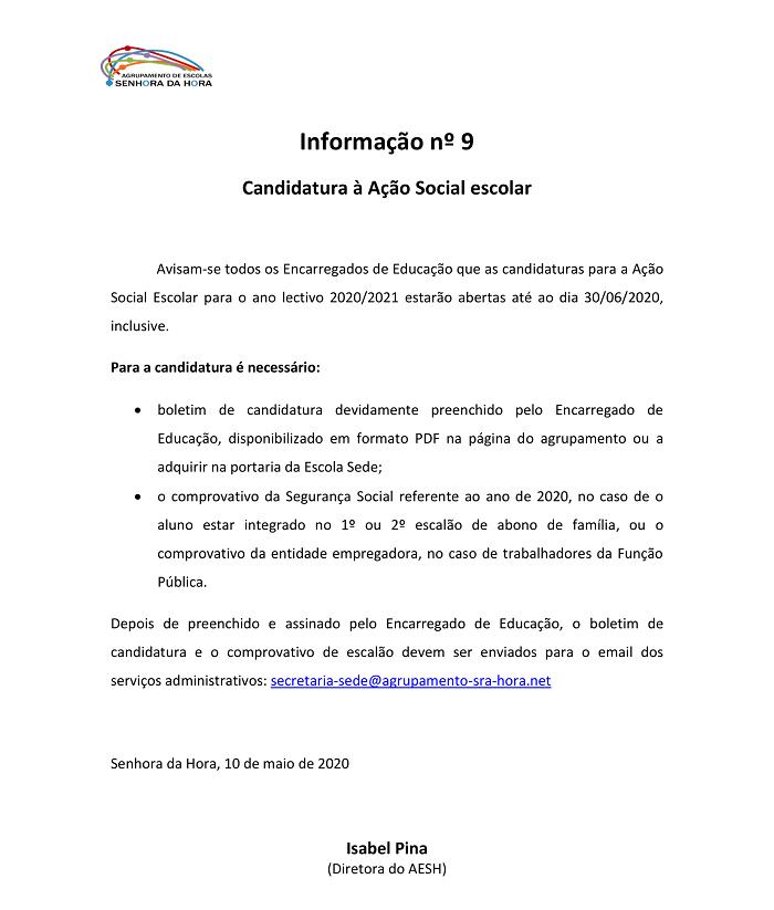 Informação nº 9 - Candidaturas à Ação Social Escolar